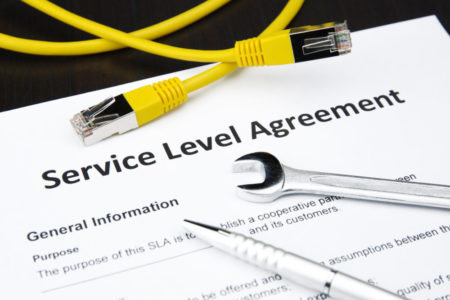service level agreement with wrench, pen and lan cable