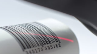 Close up of barcode reading.